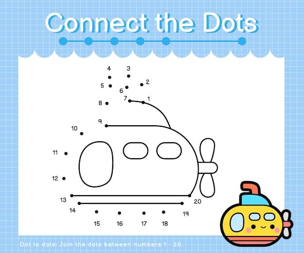 Połącz kropki granatowa łódź podwodna - połącz kropki dla dzieci