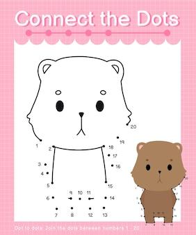 Połącz kropki gry kropka-kropki quokka dla dzieci liczących od 1 do 20