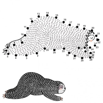 Połącz kropki i narysuj słodką leniwkę do spania