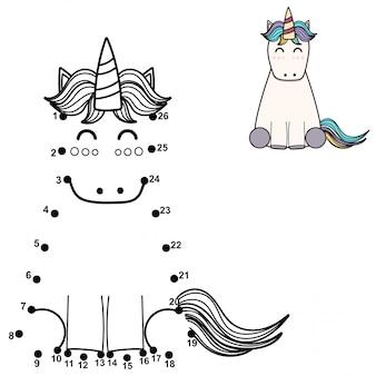 Połącz kropki i narysuj słodkiego jednorożca. gra liczb dla dzieci. ilustracja
