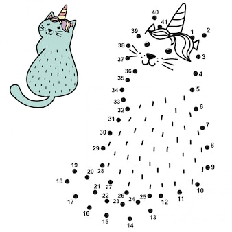 Połącz kropki i narysuj zabawnego kota jednorożca. gra liczb dla dzieci z caticorn.