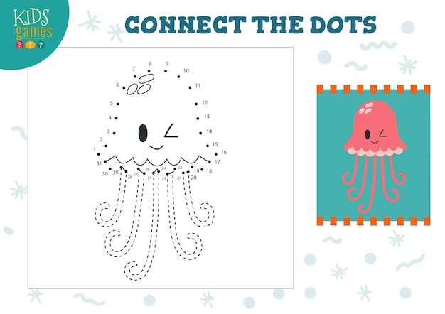 Połącz kropki ilustracja gry dla dzieci. dzieci w wieku przedszkolnym rysują aktywność, łącząc uroczą postać meduzy typu kropka-kropka