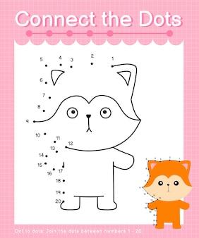 Połącz kropki lis - gry kropka-kropki dla dzieci liczące od 1 do 20
