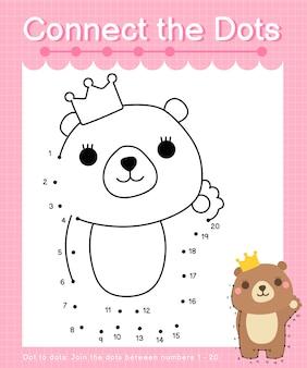 Połącz kropki: niedźwiedź - gry kropka-kropka dla dzieci o numerach 1-20