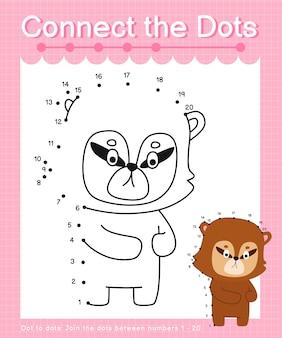 Połącz kropki numbat gry kropka-kropki dla dzieci liczących od 1 do 20