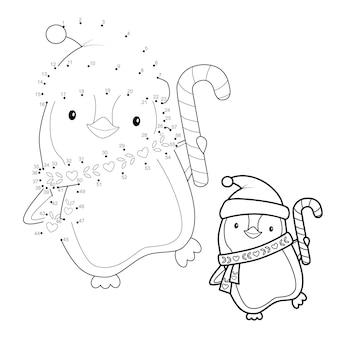 Połącz kropki świąteczne puzzle dla dzieci. połącz kropki gry. boże narodzenie ilustracja wektorowa pingwina