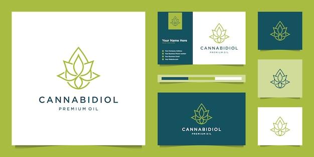 Połącz liść i kroplę ze stylem grafiki liniowej. olej cbd, marihuana, projekt logo konopi i wizytówka.