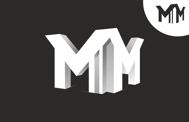 Połącz literę mm 3d logo