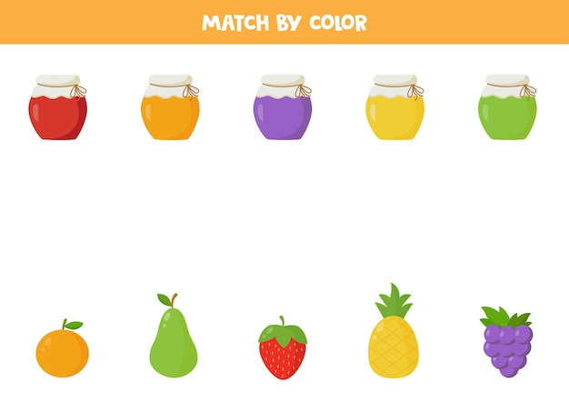 Połącz słoiki dżemu z kolorowymi owocami. edukacyjna gra logiczna dla dzieci. zabawny arkusz dla dzieci w wieku przedszkolnym.