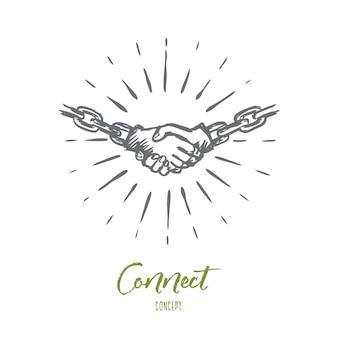 Połącz, umowa, umowa, partnerstwo, koncepcja komunikacji. ręcznie rysowane ludzi, ściskając ręce szkic koncepcji. ilustracja na białym tle wektor