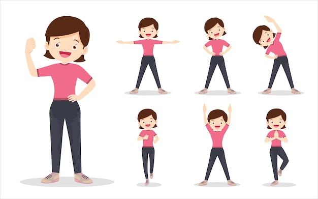 Połącz zestaw kobiety podczas wykonywania różnych czynności