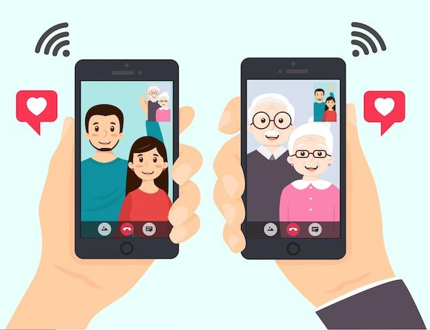 Połączenia internetowe przez telefon komórkowy, wzywając do wektora rodziny