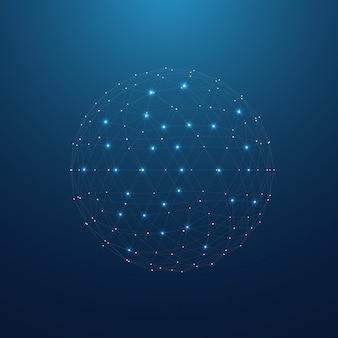 Połączenia sieciowe splot linie koncepcja technologii ikona ze światłami