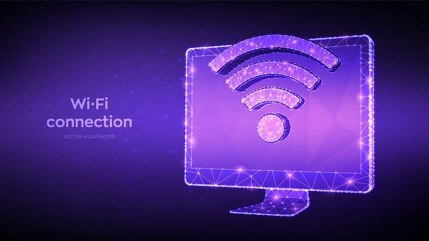 Połączenie bezprzewodowe koncepcja darmowego wifi. streszczenie niski wielokątne monitor komputerowy ze znakiem wi-fi.