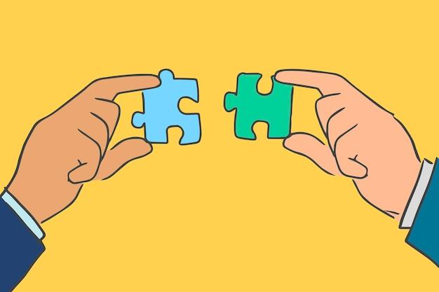 Połączenie biznesowe doodle wektor ręce łączące puzzle układanki