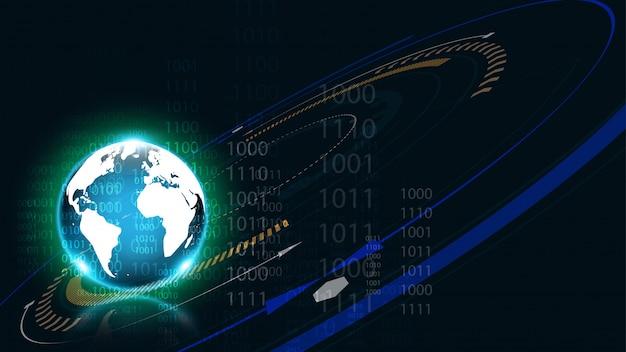 Połączenie globalnej sieci mapa świata streszczenie technologia tło globalny biznes innowacja koncepcja