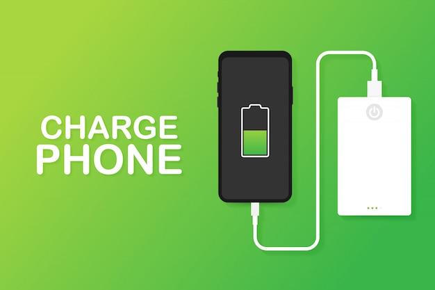 Połączenie kabla usb ze smartfonem z zewnętrznym power bankiem. ilustracja.