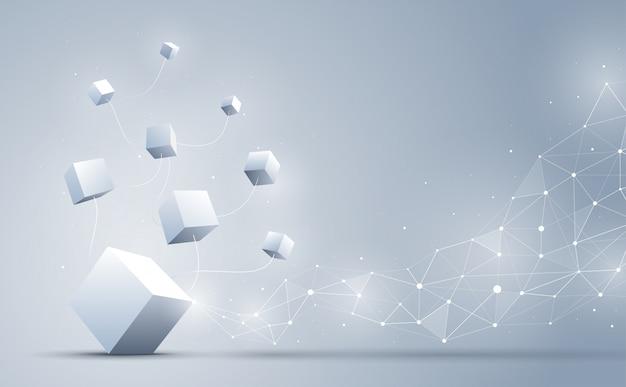 Połączenie kostek 3d z abstrakcyjną geometryczną wielokątem z łączeniem kropek i linii. abstrakcyjne tło. blockchain i koncepcja dużych zbiorów danych. ilustracja.