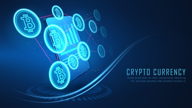 Połączenie kryptowaluty bitcoin wychodzi ze smartfona, vector ilustrator
