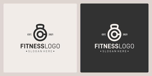Połączenie kształtów logo sztangi i początkowej litery c. premium vector.
