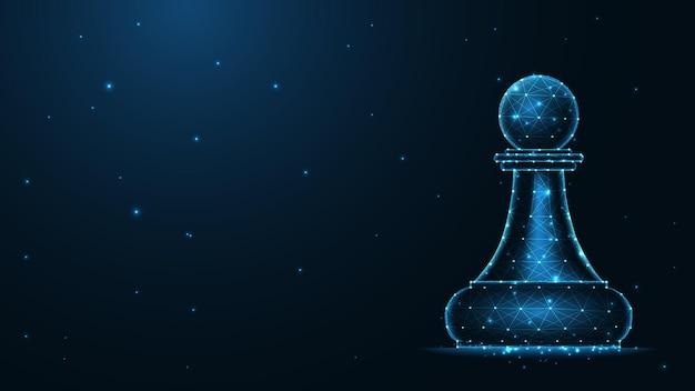 Połączenie linii pionkiem szachowym. niska konstrukcja szkieletu poli. streszczenie tło geometryczne. ilustracji wektorowych.