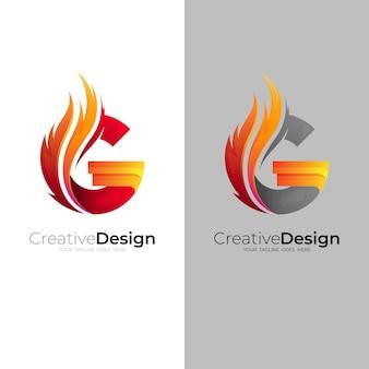Połączenie logo g i wzoru ognia, kolor czerwony