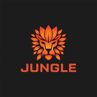 Połączenie logo lwa i liścia. projektowanie logo króla dżungli.