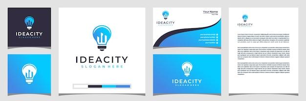 Połączenie logo miasta i żarówki z płaską grafiką. płaskie logo z ikonami budynku wizytówka i papier firmowy