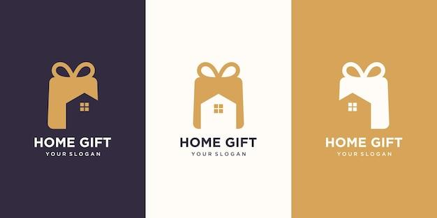 Połączenie logo prezentu i domu. unikalny szablon projektu niespodzianki i logo