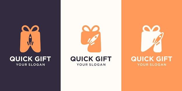 Połączenie logo prezentu i rakiety. unikalny szablon projektu niespodzianki i logo