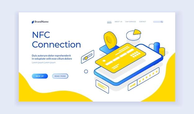 Połączenie nfc. izometryczne ilustracji wektorowych smartfona z kartą kredytową reprezentującą technologię płatności zbliżeniowych. izometryczny baner internetowy, szablon strony docelowej
