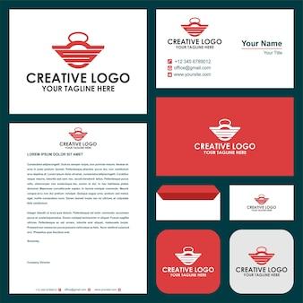 Połączenie początkowej litery logo sztangi i wizytówki premium