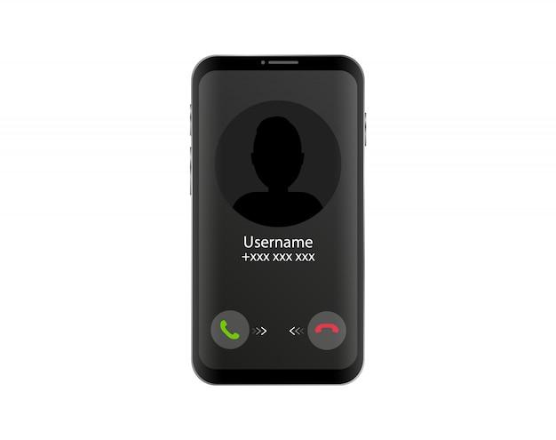 Połączenie przychodzące przez telefon. interfejs telefonu z ekranem połączenia. płaski styl.