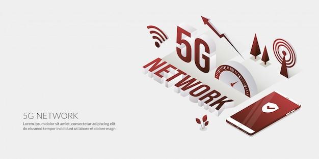 Połączenie sieciowe, ultraszybka technologia internetowa z tekstem 3d