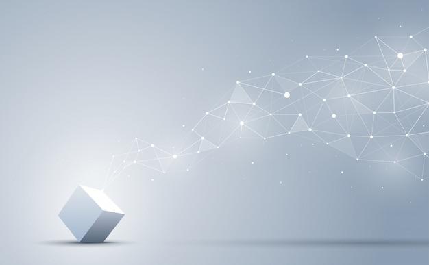 Połączenie sześcianu 3d z abstrakcyjnym geometrycznym wielokątem z łączeniem kropek i linii. abstrakcyjne tło. blockchain i koncepcja dużych zbiorów danych.