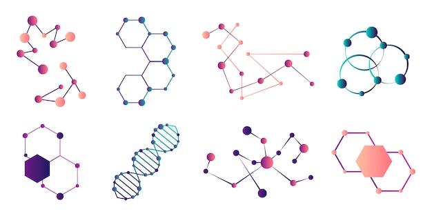 Połączone cząsteczki. model połączenia cząsteczki