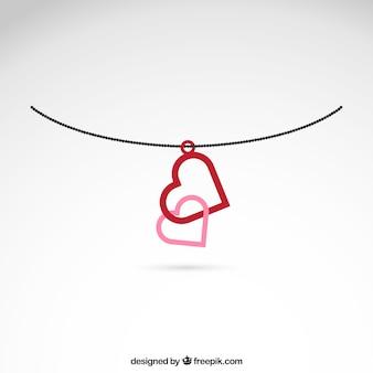 Połączone serca naszyjnik
