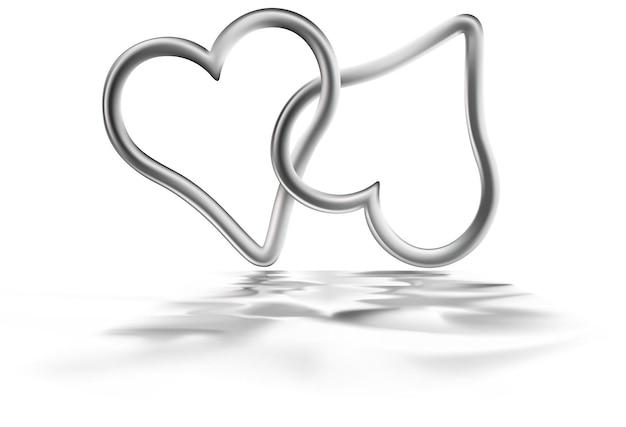 Połączone srebrne serca z efektem falowania na białym tle