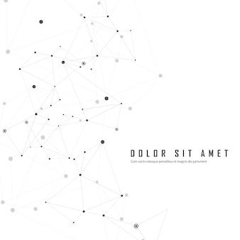 Połączony abstrakcyjny wzór z kropkami na nakładających się linii technologii tle