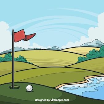 Pole golfowe tło w ręka rysującym sytle
