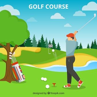 Pole golfowe tło w stylu płaski