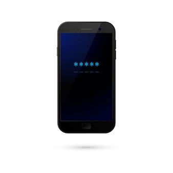Pole hasła telefonu komórkowego. koncepcja bezpieczeństwa smartfona, dostęp osobisty, logowanie, technologia ochrony, autoryzacja użytkownika.