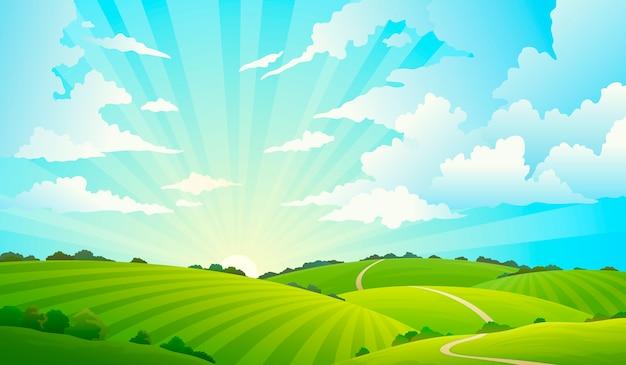Pole krajobraz z wzgórze natury nieba horyzontu trawy łąkowym pola wiejskim gruntowym rolnictwo obszarem trawiastym