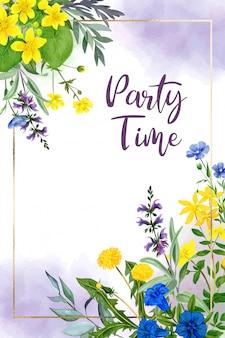 Pole kwiatów akwarela szablon karty z pozdrowieniami, żółty i fioletowy