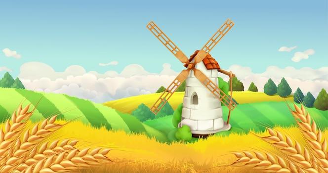 Pole pszenicy. krajobraz wiatraka. ilustracja pozioma, wektor