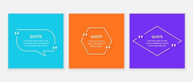 Pole tekstowe cytat. szablon ramki cytatów. białe komentarze i wiadomości w polach tekstowych