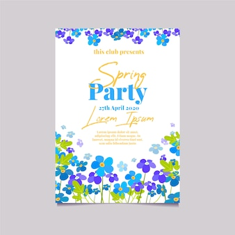 Pole z kwiatami płaska konstrukcja wiosna party plakat