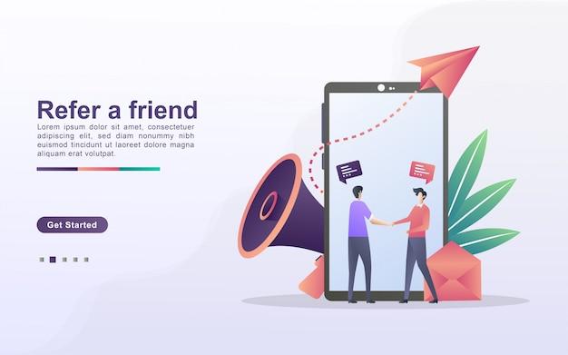 Poleć koncepcję przyjaciela. partnerstwo partnerskie i zarabiaj. strategia marketingowa. program poleceń i marketing w mediach społecznościowych. można używać do strony docelowej, banera, aplikacji mobilnej.