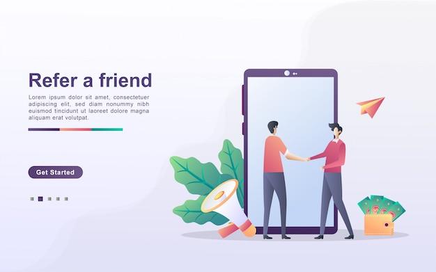 Poleć koncepcję przyjaciela. partnerstwo partnerskie i zarabiaj. strategia marketingowa. program poleceń i marketing w mediach społecznościowych.