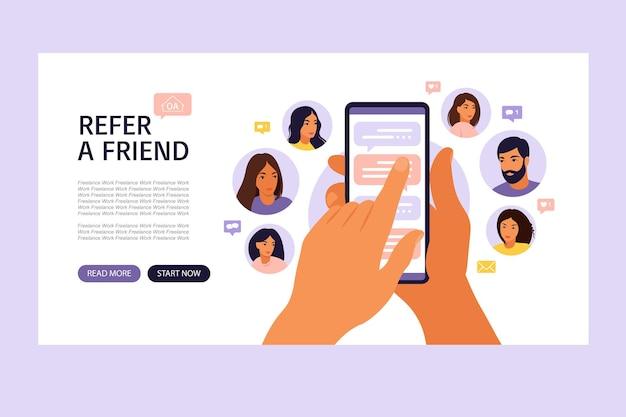 Poleć koncepcję przyjaciela z kreskówkowymi rękami trzymającymi telefon z listą kontaktów znajomych.